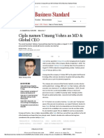 Cipla Names Umang Vohra as MD & Global CEO _ Business Standard News