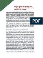 Impuesto Sobre La Renta en Panamá Para Personas Naturales y Personas Jurídicas en La República de Panamá