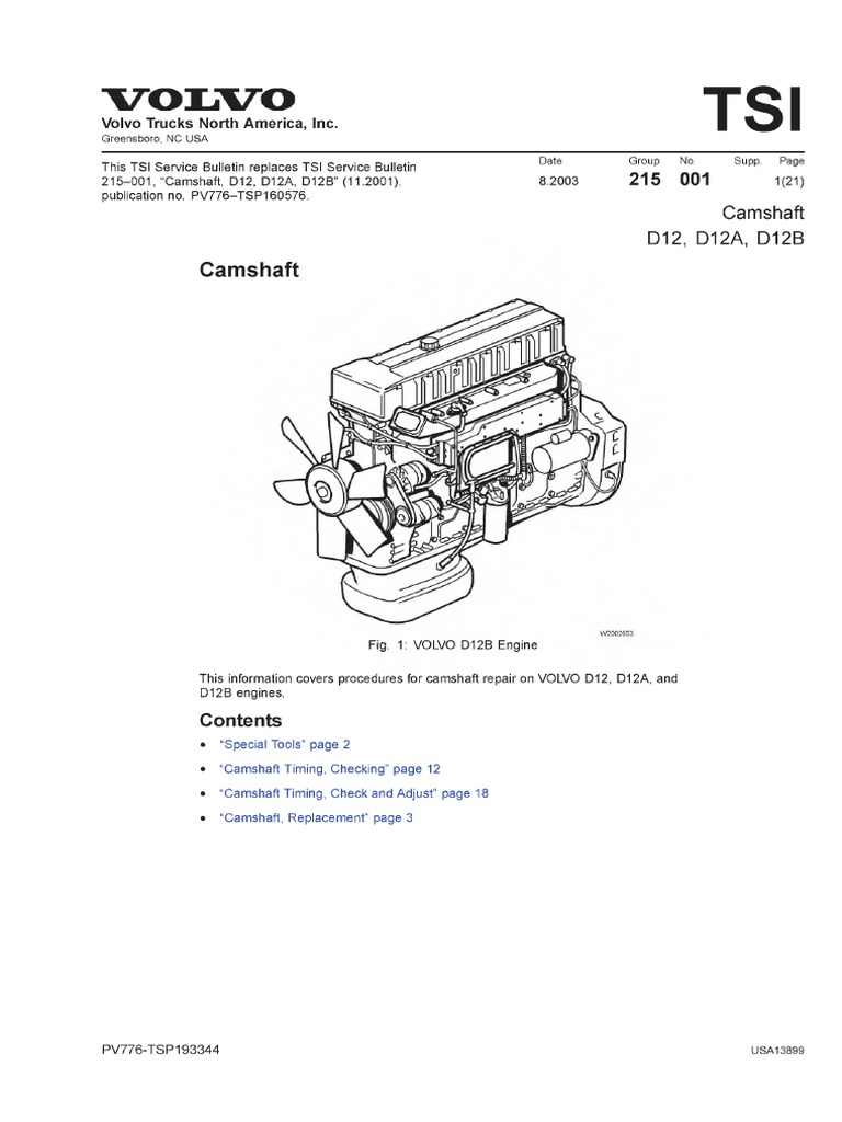 volvo-d12-workshop-manual-less-specifications-abby.pdf | Nut (Hardware) |  Bearing (Mechanical) | Volvo D12 Engine Diagram |  | Scribd