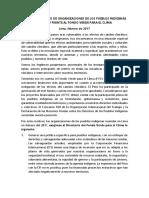 Pronunciamiento de organizaciones de pueblos indígenas del Perú ante el Fondo Verde para el Clima