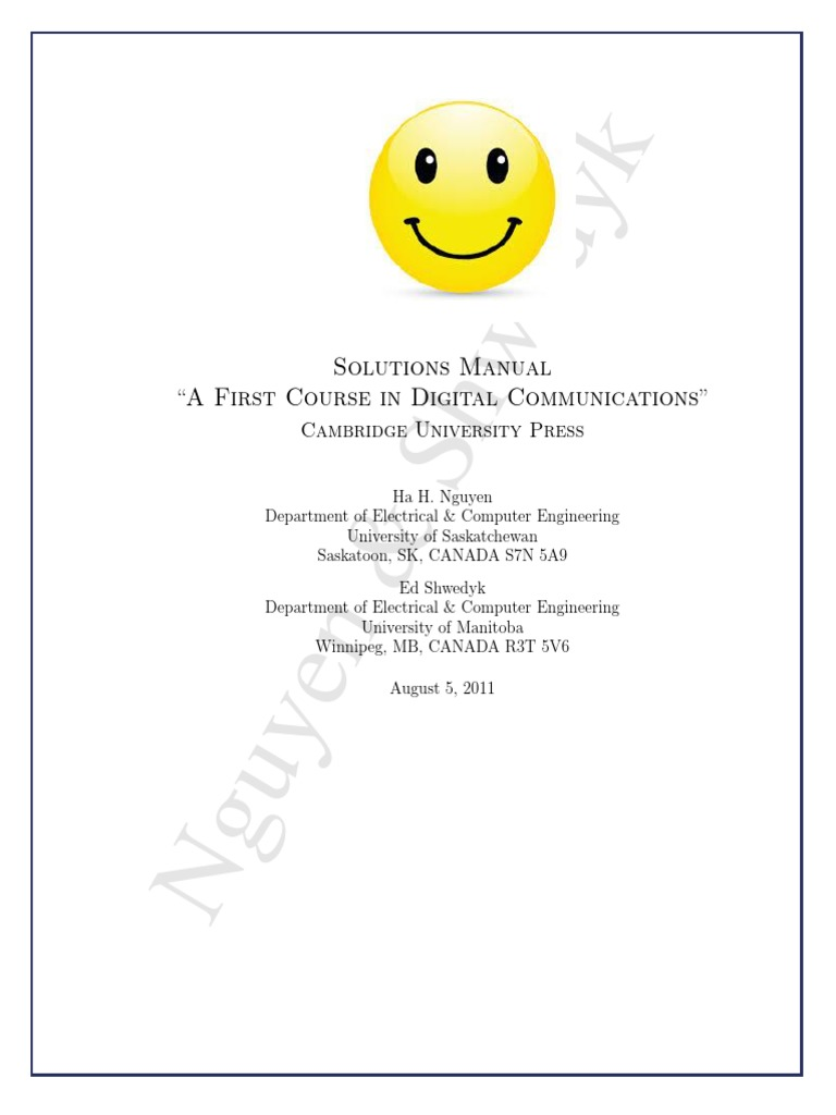 A First Course in Digital Communication Solution Manual by Nguyen HH    Frequency Modulation   Spectral Density