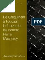 Las Normas de Canguilhem a Fou - Macherey