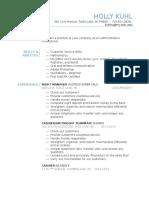 resume holly kuhl - website