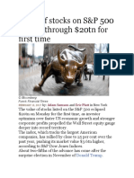 Value of stocks on S&P 500 pushes through $20tn for first time