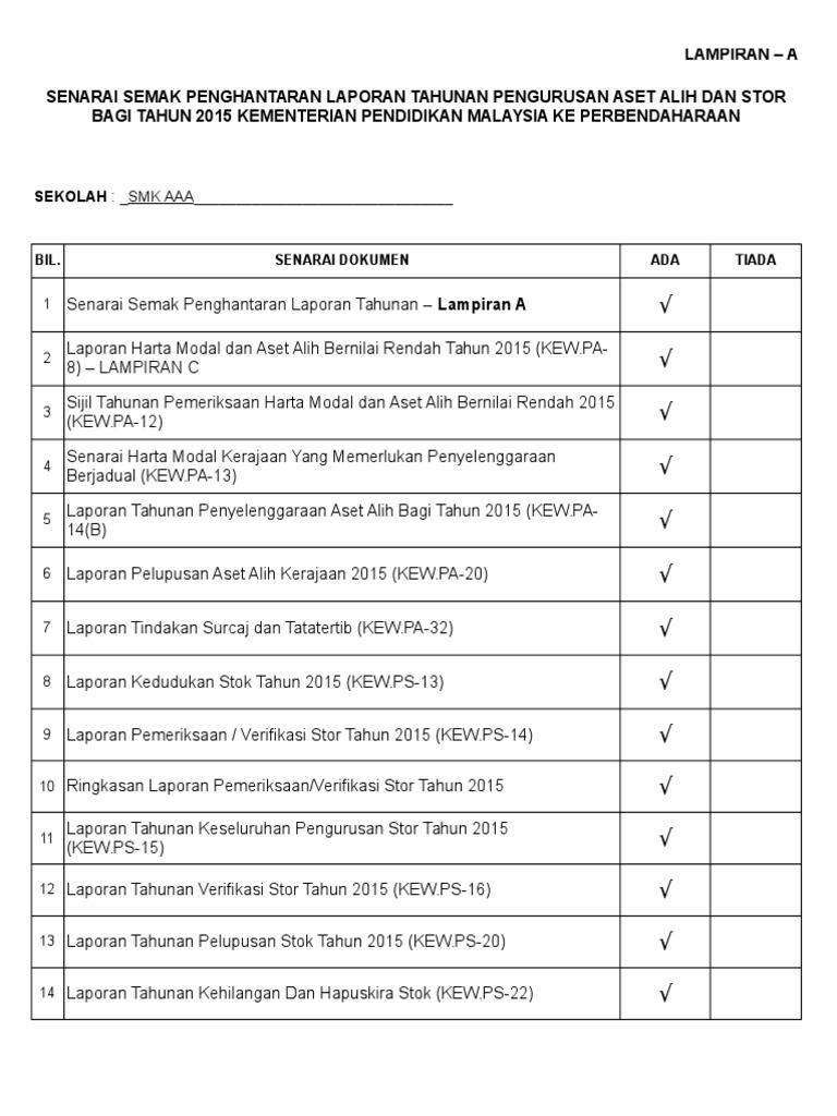 Cth Lengkap Pengisian Template Laporan Tahunan Pengurusan Aset Dan Stor 2015