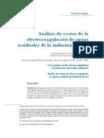 Analisis de Costos de La Electrocoagulacion de Aguas Residuales de La Industria Lactea