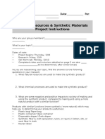 synthetics project introduction activity sheet