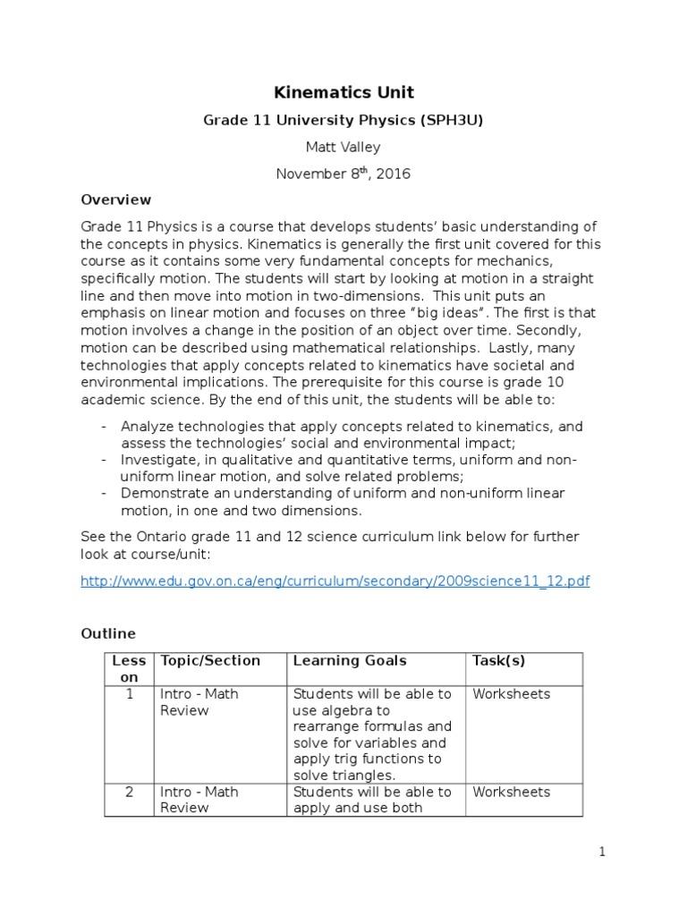unit plan - kinematics - sph3u | Acceleration | Velocity