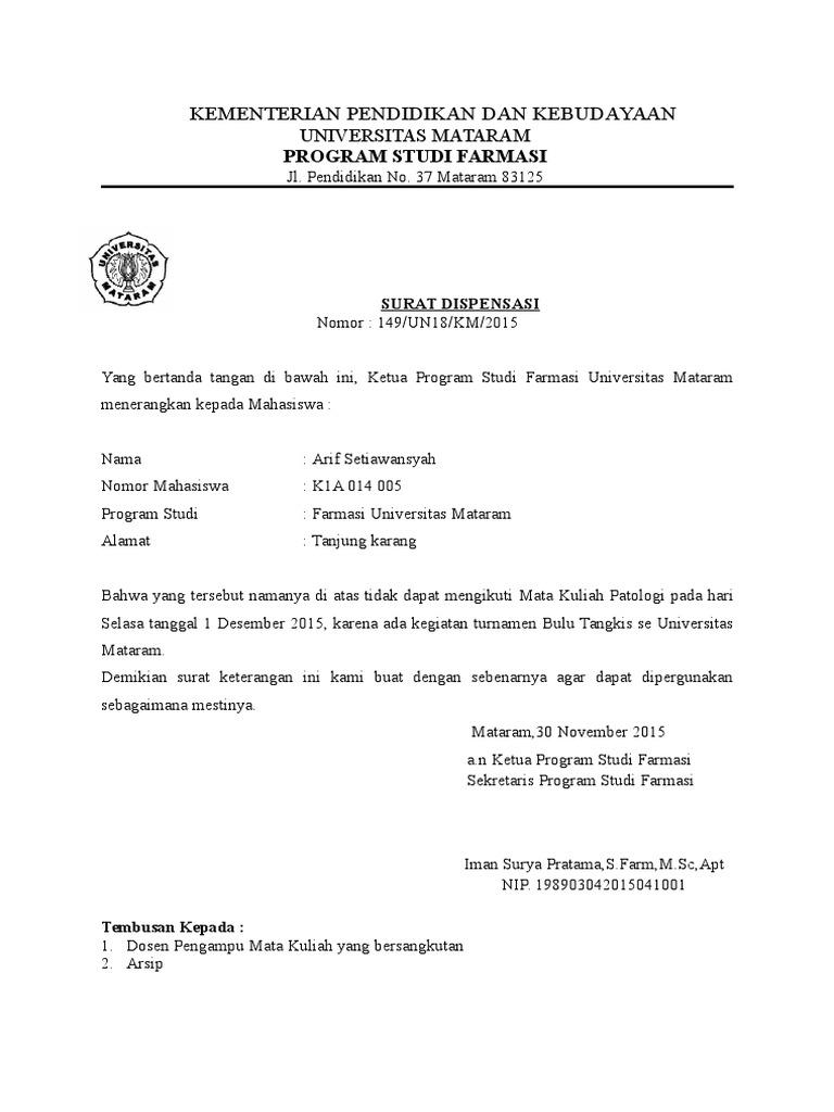 Surat Dispensasi Mhsw