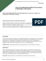 La Interdisciplinariedad y La Transdisciplinariedad en Las Ciencias_ Una Mirada a La Teoría Bibliológico-Informativa