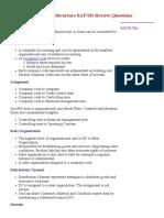 Enterprise Structure SAP SD Review Questions