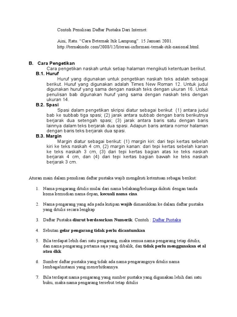 Contoh Penulisan Daftar Pustaka Dari Internet Docx