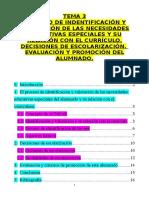 Tema 3. Proceso de Identificación y Valoración de La NEE y Su Relación Con El Currículo. Decisiones de Escolarización. Evaluación y Promoción Alumnado