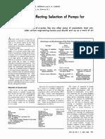 Design Factors for Pump Selection in Chm Indst