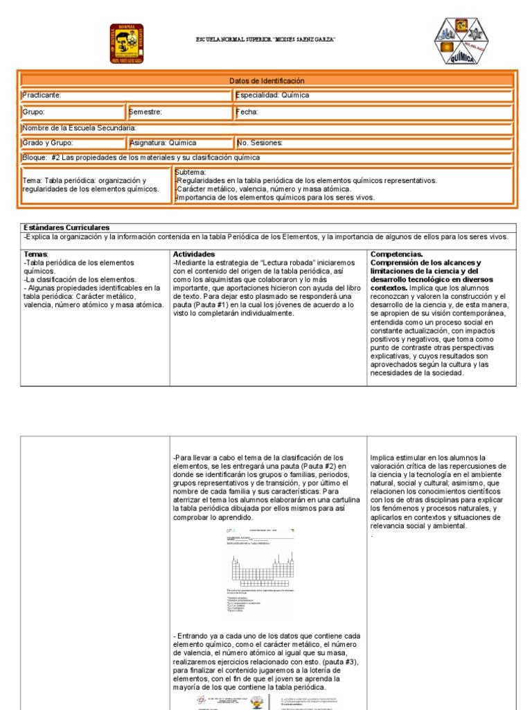 Planeacin 2 tabla peridica ciencias iii qumica urtaz Image collections