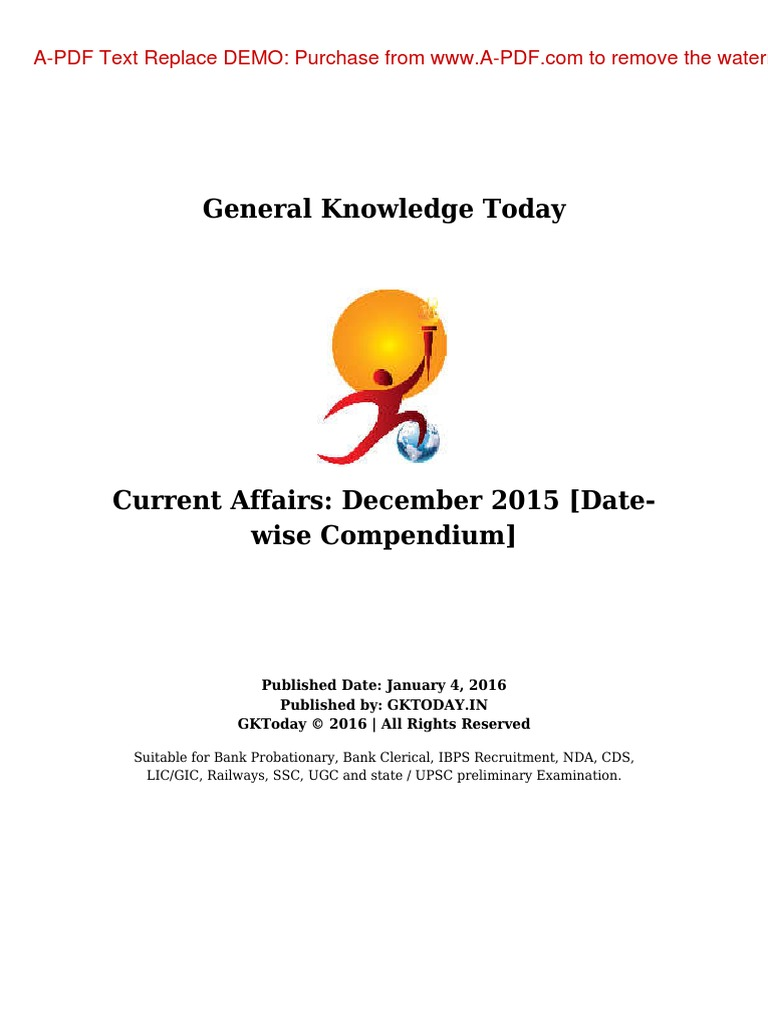 Gk Today Current Affairs December 2015 | Government Of India