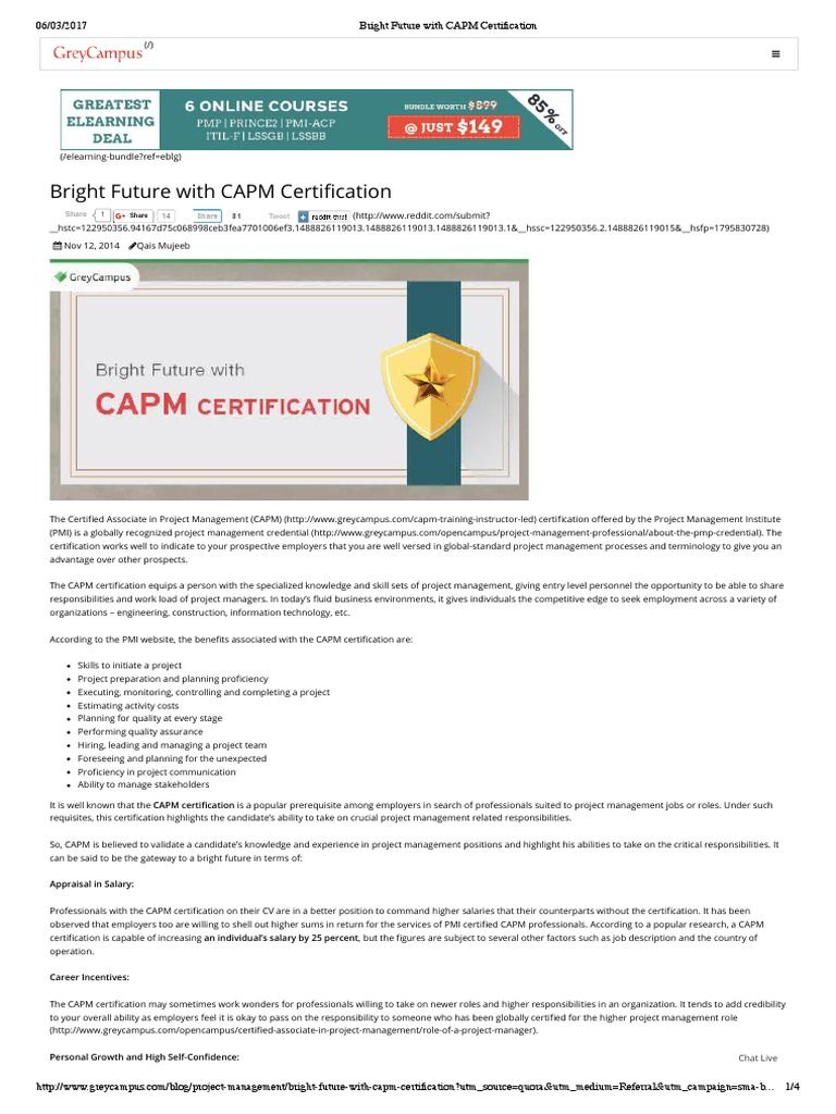 Bright Future With CAPM Certification   Project Management   Online ...