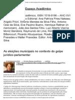 As Eleições Municipais No Contexto Do Golpe Jurídico-parlamentar _ Blog Da Revista Espaço Acadêmico