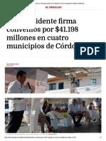 27-02-2017 Vicepresidente firma convenios por $41....tro municipios de Córdoba | El Heraldo.pdf