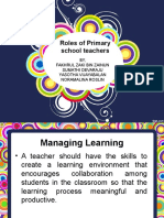 Teachers Role as Managing learning