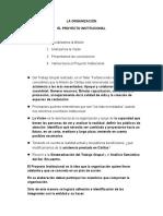 La Organización - Proyecto Institucional