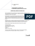 CORRECTIONAL SERVICE OF CANADA (CSC) - TRADITONAL ABORIGINAL ELDERS/CULTURAL ADVISORS