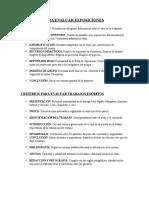 Criterios Para Evaluar Exposiciones y Trabajos Escritos