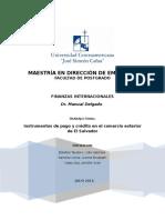 Instrumentos de Pago y Credito en El Comercio Exterior de El Salvador