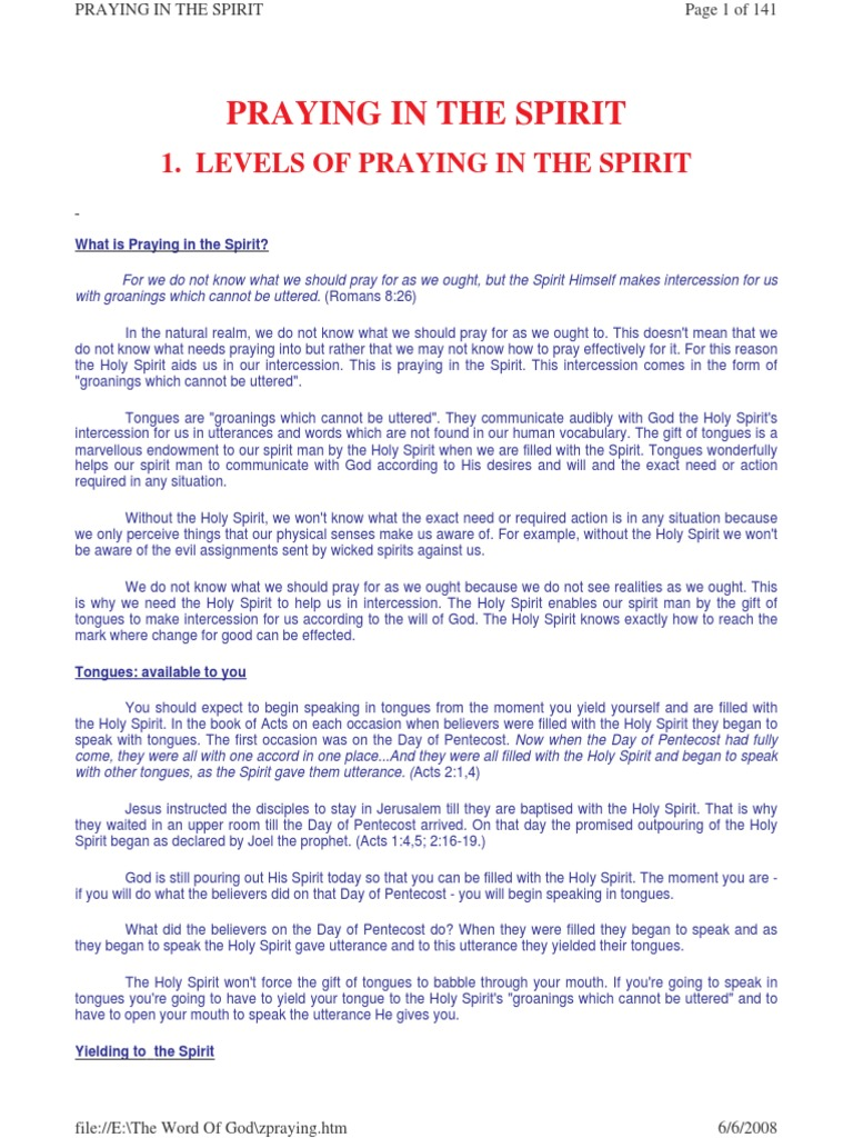 Levels of Praying in the Spirit | Glossolalia | Baptism With The ...