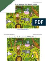 Encuentra Las 20 Diferencias Ficha Color La Selva a4