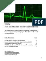 HUCM Student Research  Newsletter (Sept. 2016)
