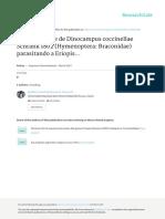 Primer reporte de Dinocampus coccinellae Schrank 1802 (Hymenoptera
