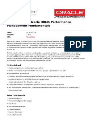 r12 x Oracle Hrms Performance Management Fundamentals   Competence