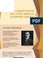 Wood Administration, Impact of the American Occupation