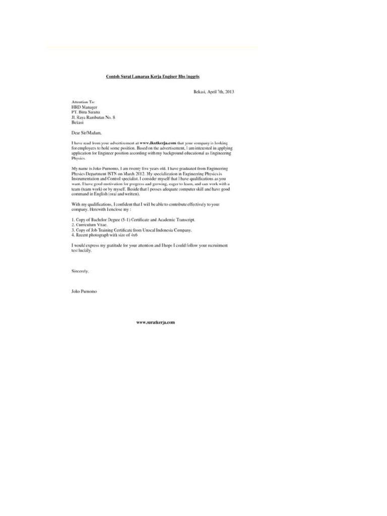Contoh Surat Lamaran Pekerjaan Dalam Bahasa Inggris Pertama