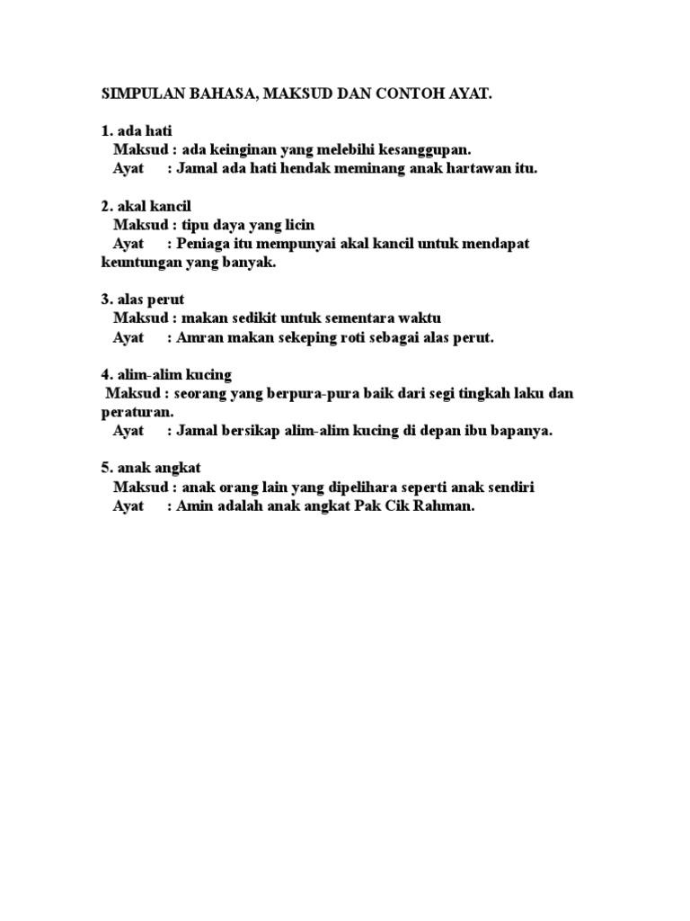 Simpulan Bahasa Maksud Dan Contoh Ayat