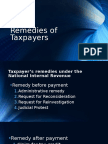 Taxpayer's Remedies