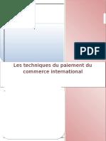 Les Techniques Du Paiement Du Commerce International