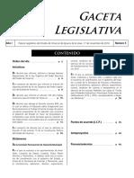 Gaceta Legislativa donde va incluída la Iniciativa por la que se adiciona la fracción VI del artículo 15 de la Constitución Local