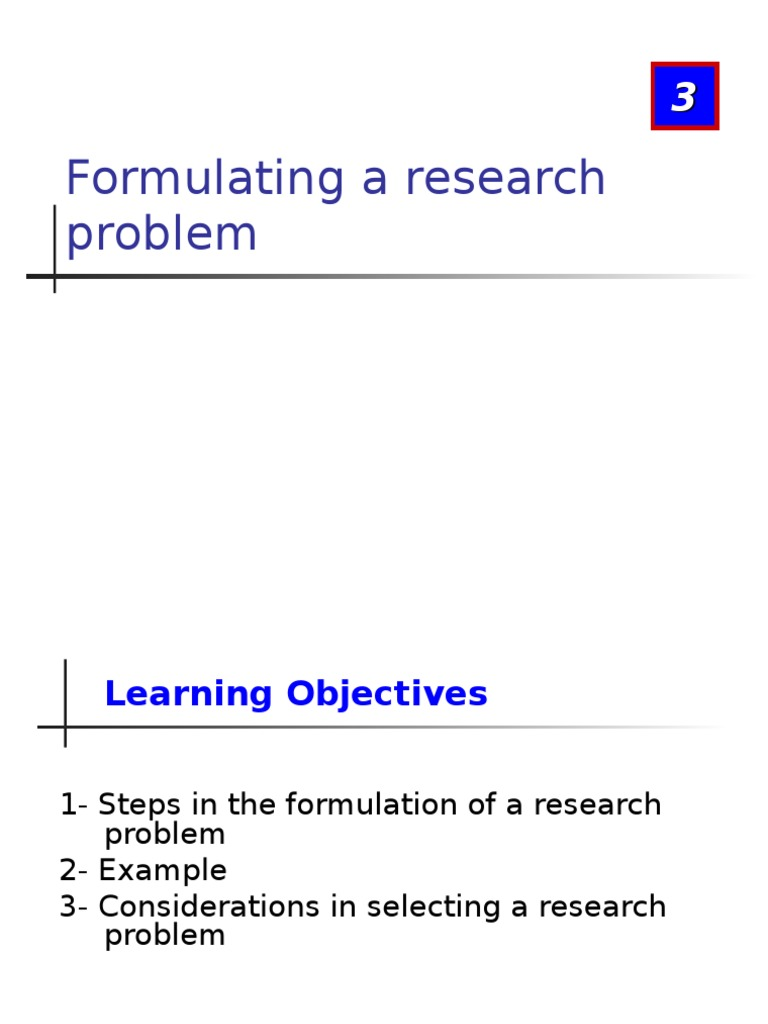 considerations in selecting a research problem
