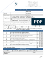 PF-001, Supplier Evaluation Form