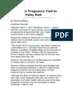 Obesity in Pregnancy Tied to Cerebral Palsy Risk