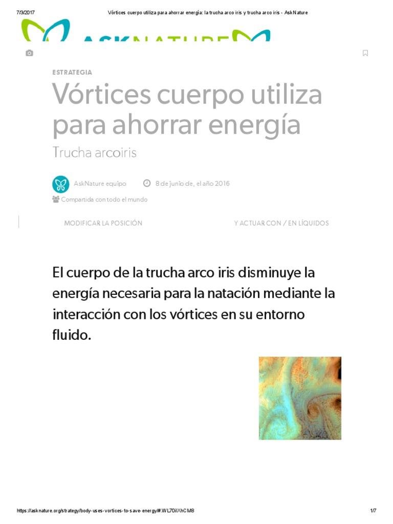 Vórtices Cuerpo Utiliza Para Ahorrar Energía_ La Trucha Arco Iris y ...