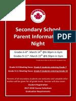 secondary parent info night poster