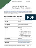 Certification Guide on SAS Big Data Preparation, Statistics, and Visual Exploration (A00-220) Professional Exam