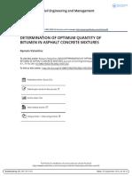 Determination of Optimum Quantity of Bitumen in Asphalt Concrete Mixtures