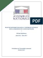 Bilan Réformes Assemblée Nationale XIVème Législature