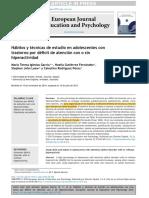 Hábitos y Técnicas de Estudio en Adolescentes Con TDAH (2015)