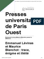 Antonioli. Lévinas Et Blanchot, Trace, Énigme Et Illéité