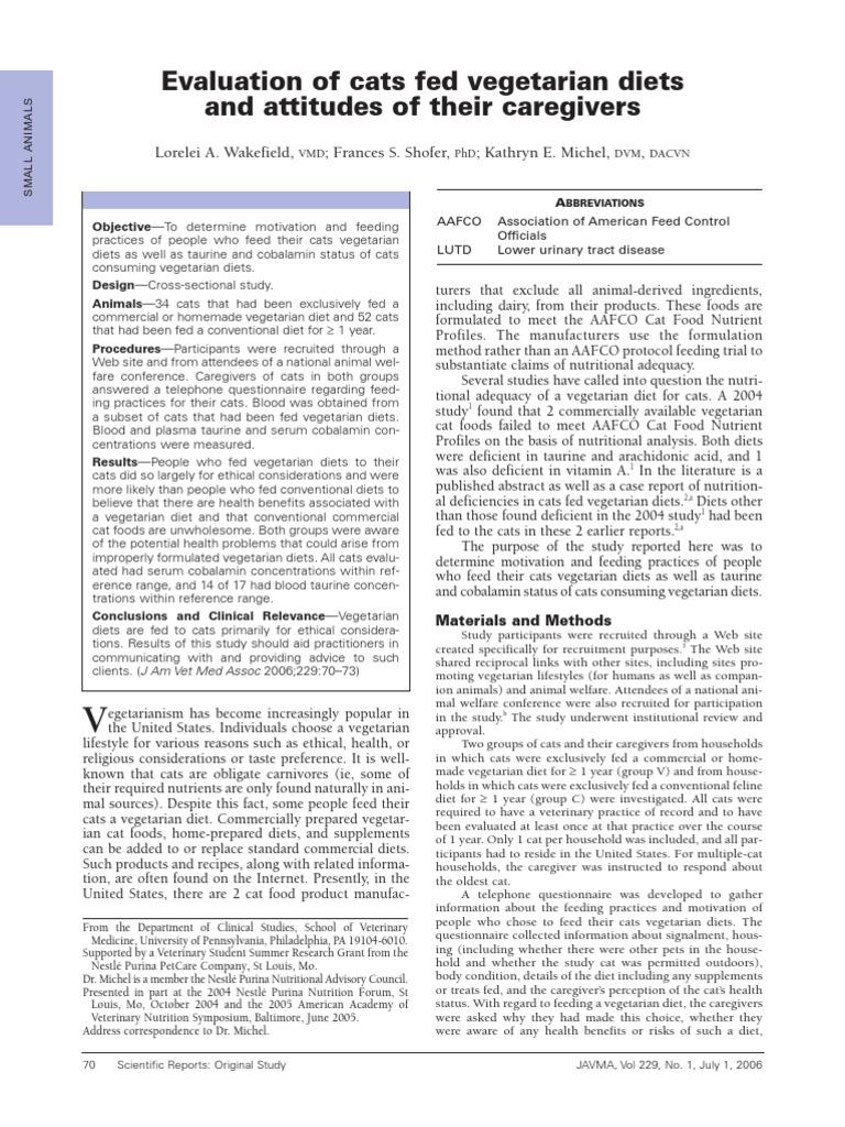 Veg Cats Wakefield Et Al JAVMA 2006 | Vegetarianism | Vitamin B12